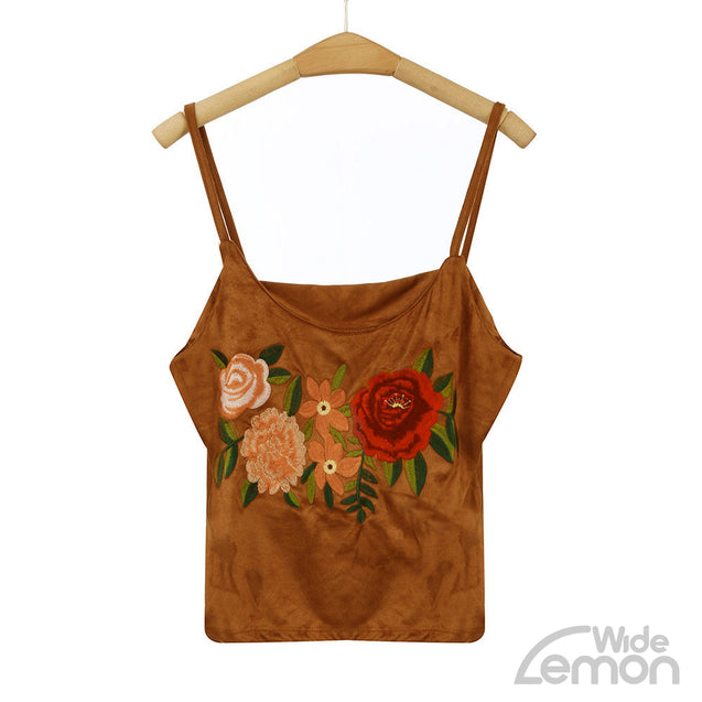 Sleeveless Blouse With Embroidery Floral