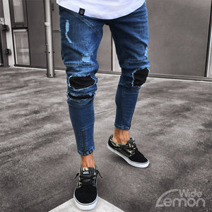 Blue Ripped Skinny Jeans With Black Holes