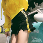 'LEMON' Yellow Side Stripe Shorts