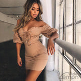Khaki Off Shoulders Dress