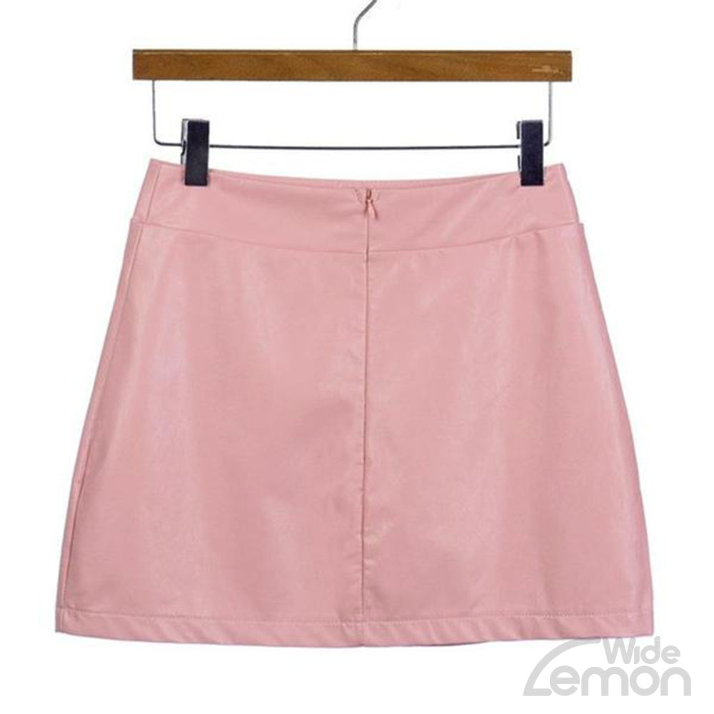 Short Pink PU Leather Skirt