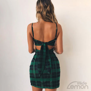 Green Checkered Sleeveless Dress