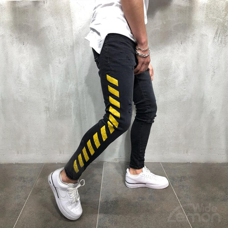 Black Jeans Yellow Side Stripes