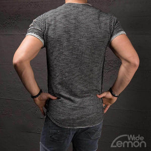Grey O-Neck Ripped T-Shirt