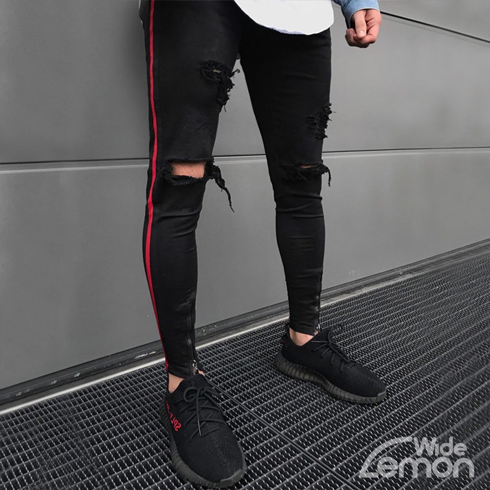 BLACK Ripped Side Lines Jeans
