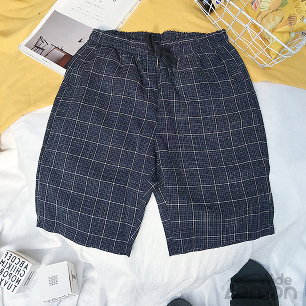 Navy Blue Checkered Short Trousers