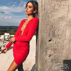 Red 'Rosu' V-Neck Short Dress