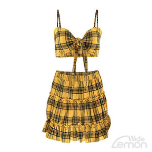 LEMON Checkered Two Piece Set
