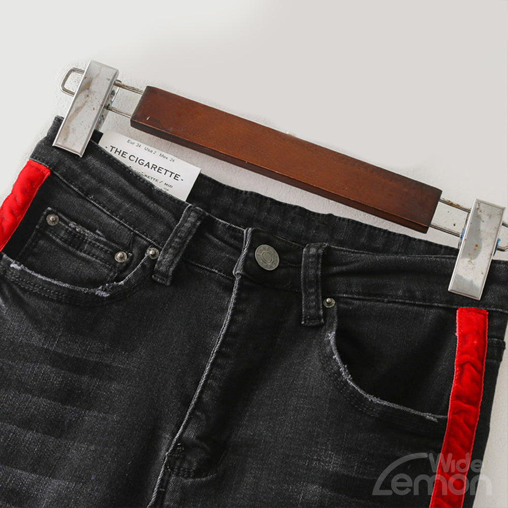 Skinny Jeans With Red Side Stripe