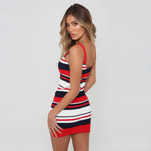 COLORFUL Red Striped Dress