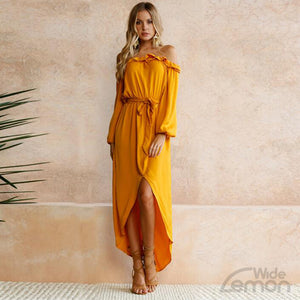 'LEMON' Off Shoulders Long Dress