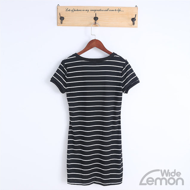 Short Black And White Lines Dress