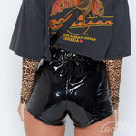 MAMBA Glossy High Waist Shorts