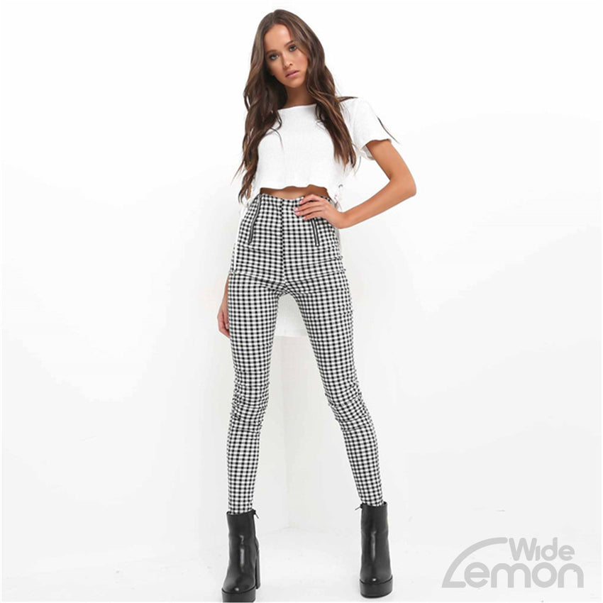 Checkered High Waist Trousers