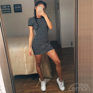 BLACK&WHITE Striped Short Dress