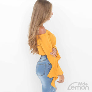 Yellow Short Off Shoulder Crop Top
