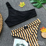 BLACK LEMON One Shoulder Bikini Set