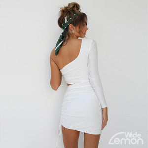 BLANC One Shoulder Dress