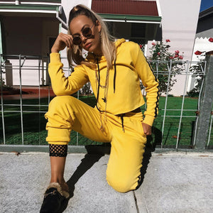 Yellow And Black Sport Short Hoodie + Long Trousers