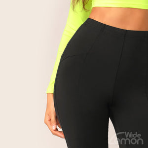BLACK Knee Length Leggings