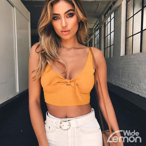 'LEMON' Bow Tie Top