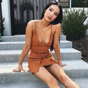 BROWN V-Neck Mini Dress