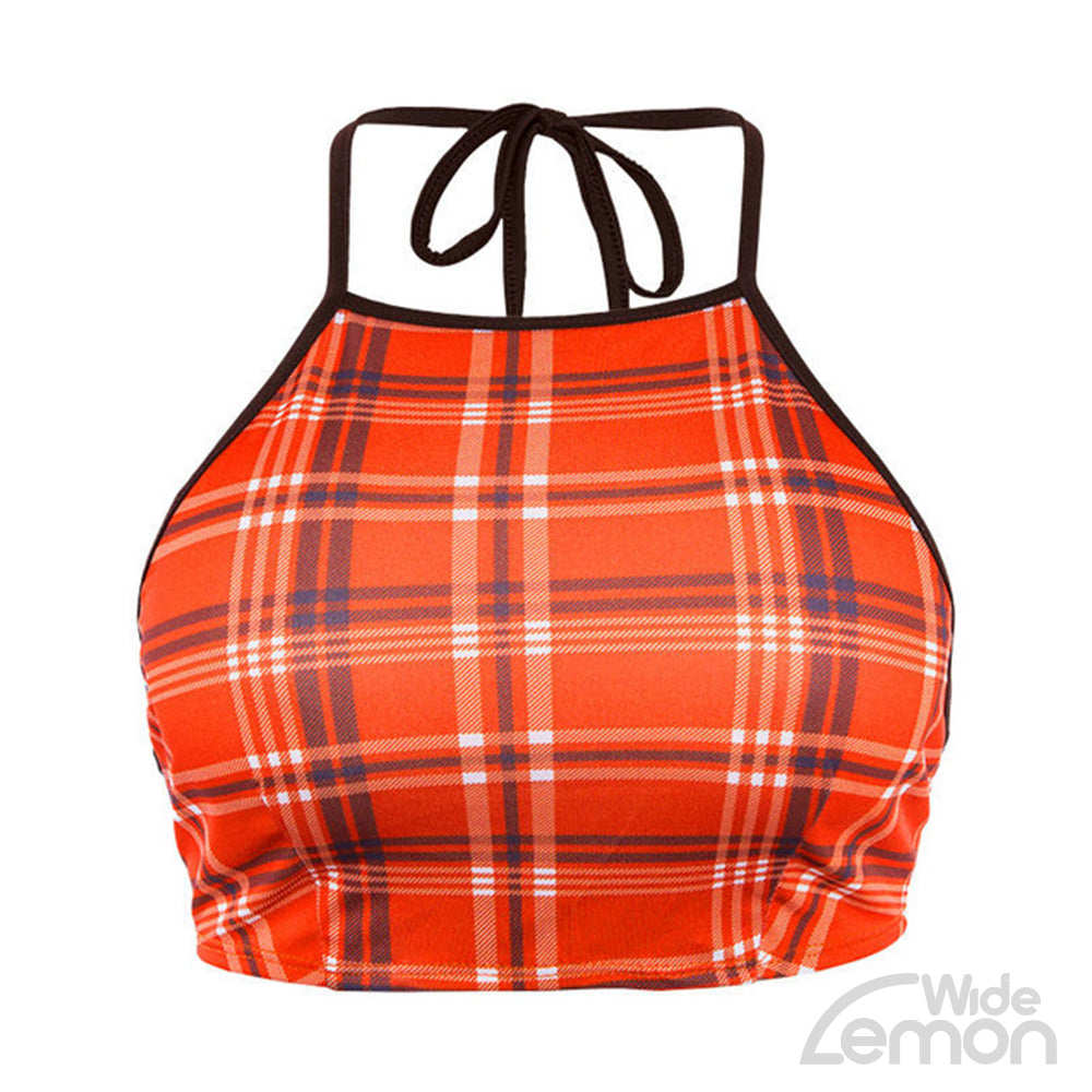 Orange Checked Crop Top