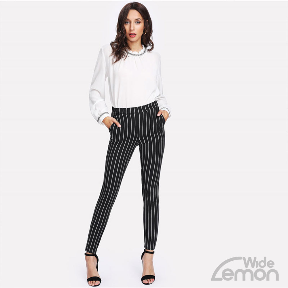 'MAMBA' Striped Skinny Pants