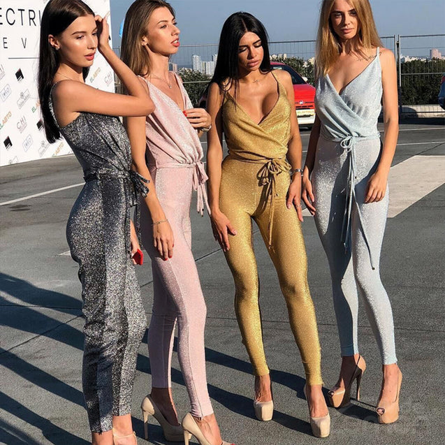 METALLIC V-Neck Jumpsuit