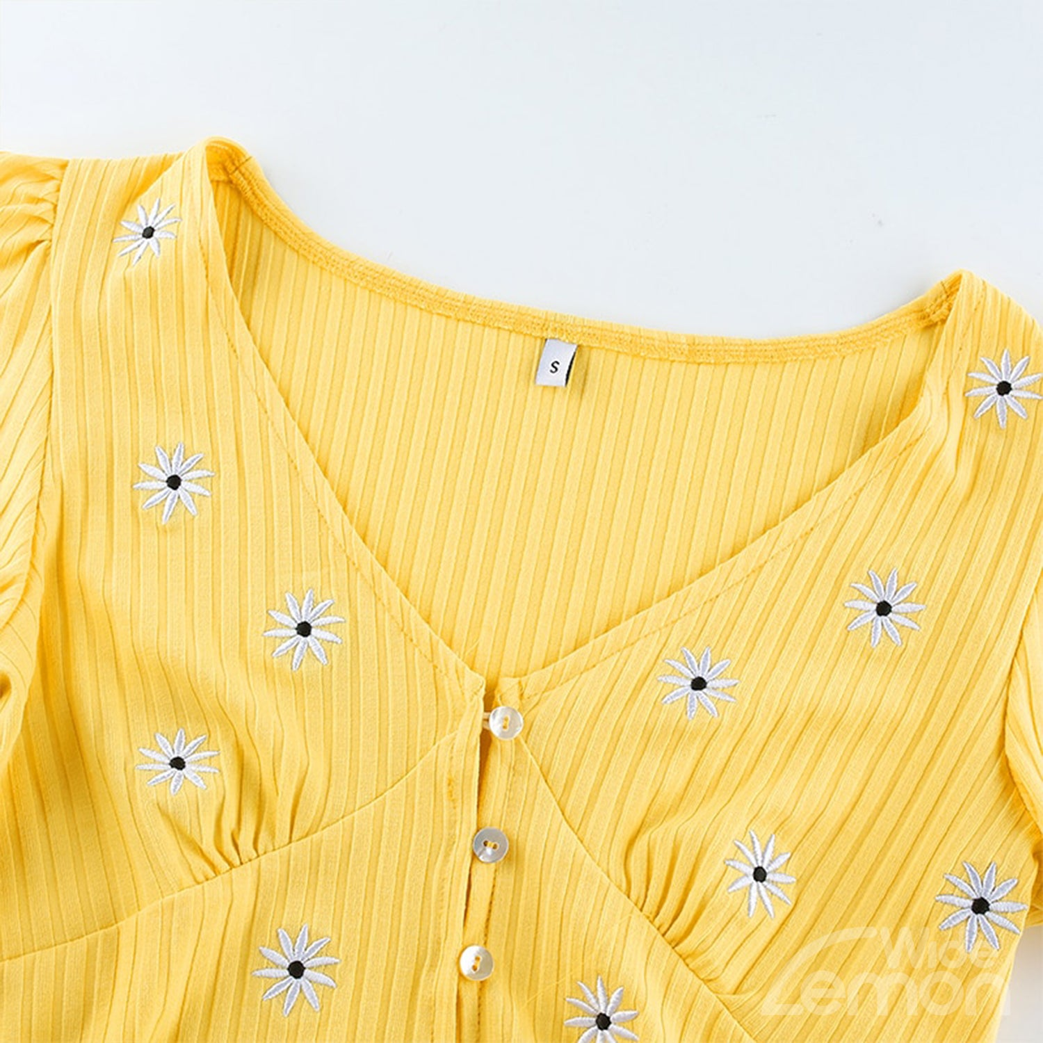 LEMON Floral V-Neck Top