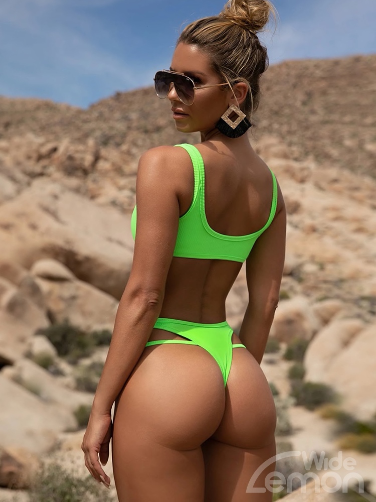NEON Green V-Cut Bikini Set