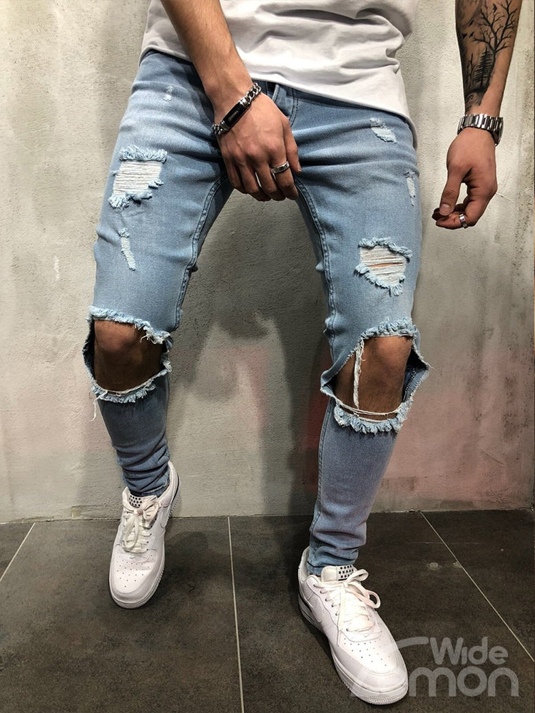 URBAN Blue Ripped Skinny Jeans