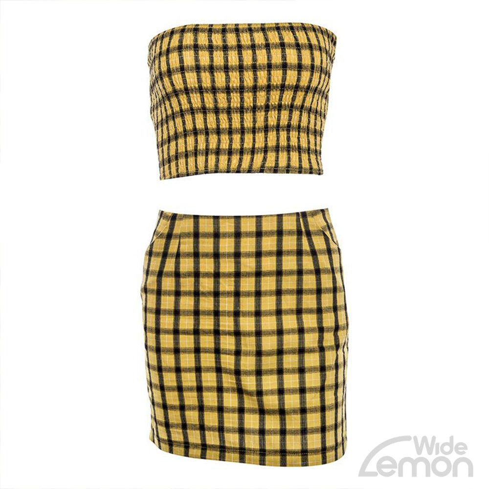 'LEMON' Crop Top & Skirt Set