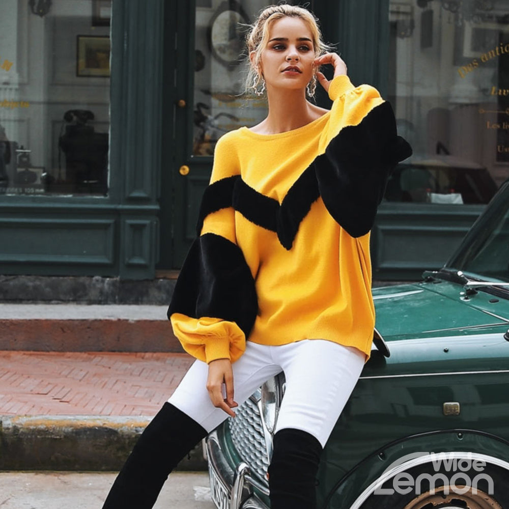 YELLOW Pullover With Black Fur