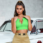 ZIPPER Green Crop Top
