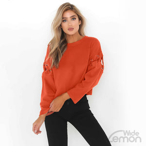 Orange Lace Up Long Sleeve Sweatshirt