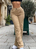 KHAKI High Waist Trousers