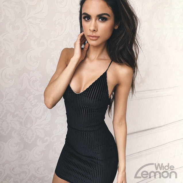 Black 'MAMBA' V-Neck Dress