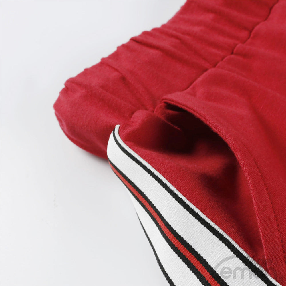 Red Sport Short Hoodie + Long Trousers