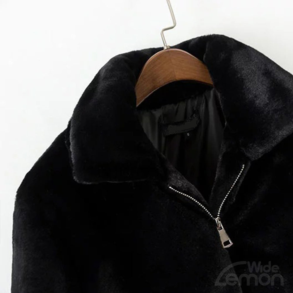 MAMBA Black Fluffy Coat