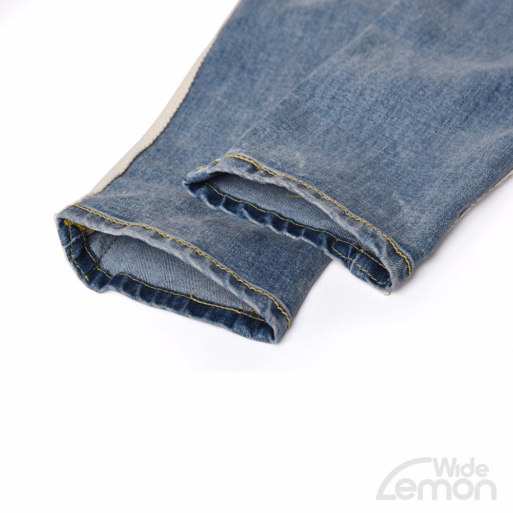BLUE Jeans With White Side Lines