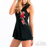 V-neck Black Short Jumpsuit With Flowers