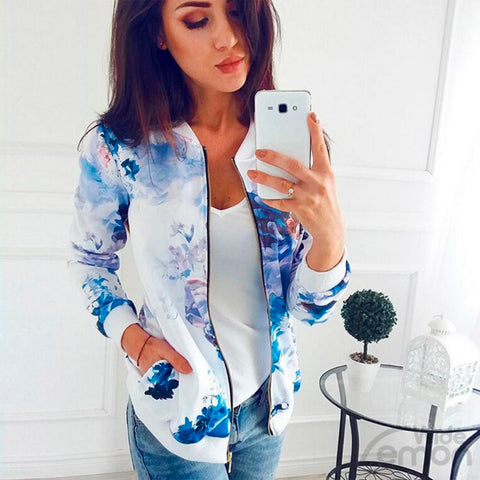 Blue Floral Print Long Sleeve Jacket