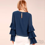 Dark Blue Long Sleeve Chiffon Blouse