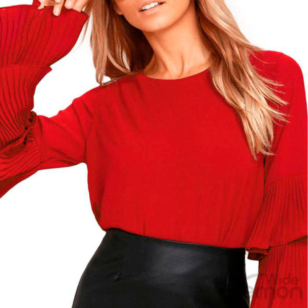 Red Long Sleeve Chiffon Blouse