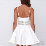 Crochet Lace Waist White Dress