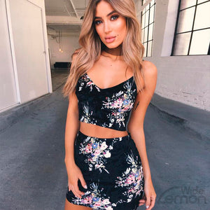 Black Flowers Print Two Piece Set