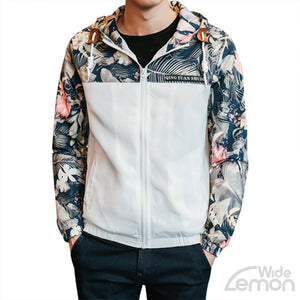 White Floral Printed Bomber Jacket
