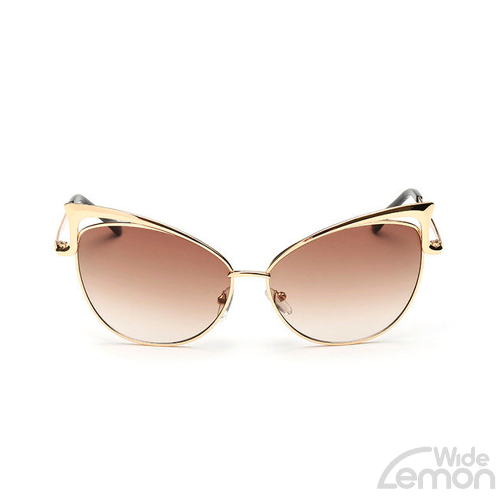 Goldbrown Mirrored Cat Eye Sunglasses.