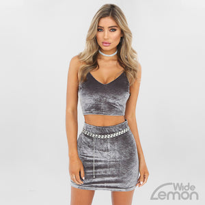 Skinny Gray Two Piece Set
